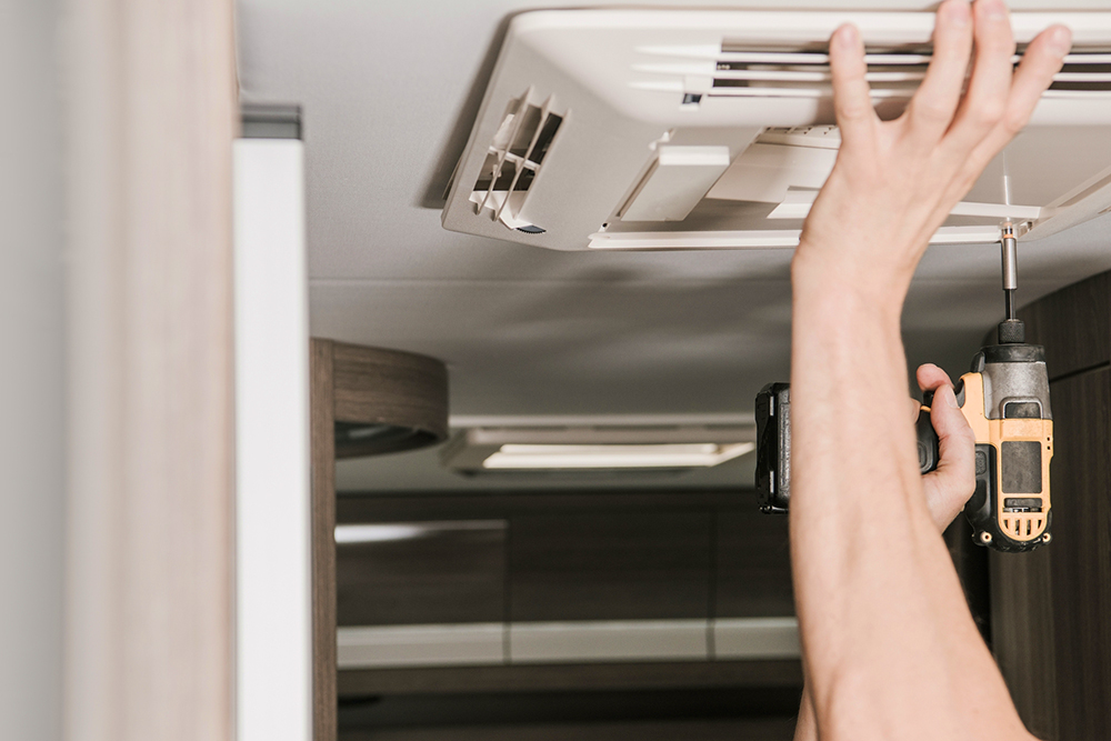 Recreational Vehicle Air Conditioner Installation before RV inspection services were provided.