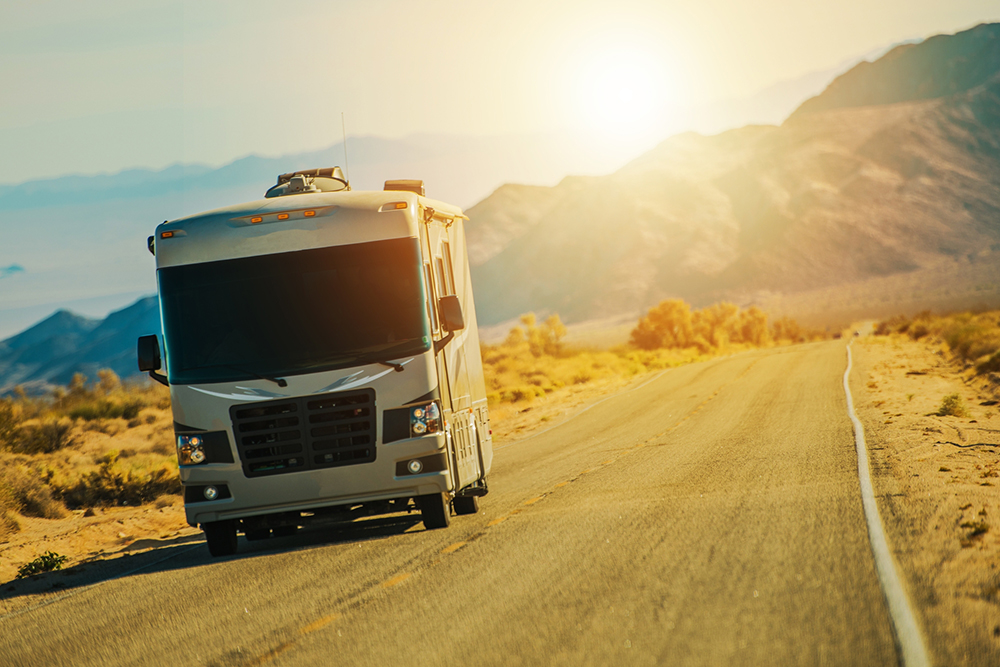 Motorhome on the Desert Road in Arizona after receiving thorough RV inspection services