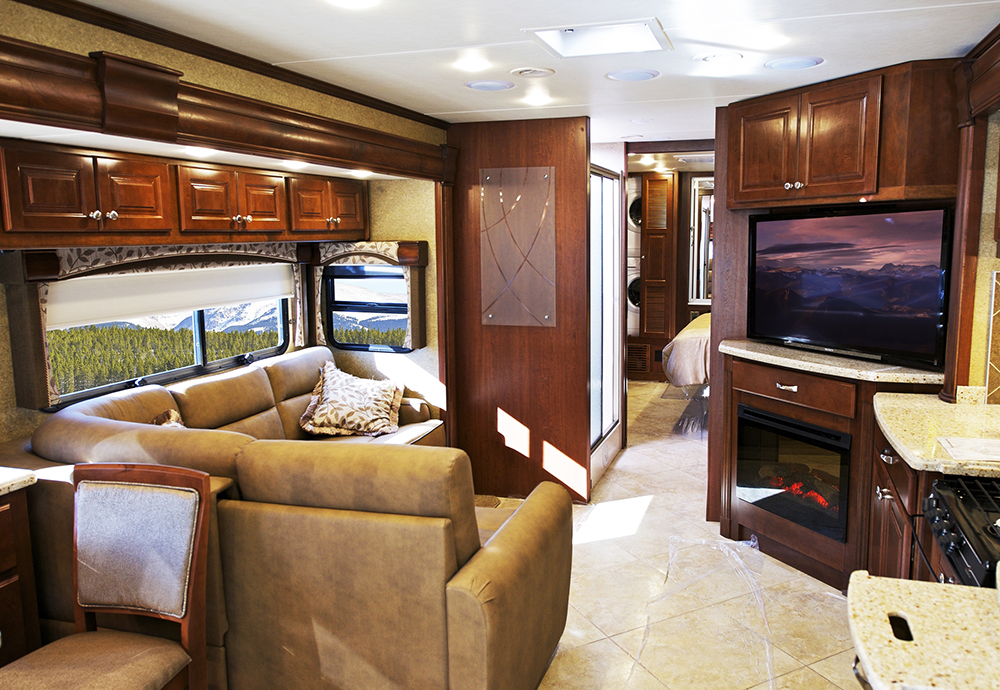 Modern Motorhome Interior seen while providing RV Inspection services