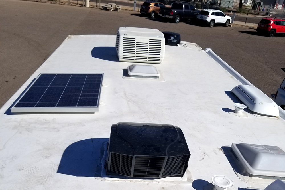The roof of an recreation vehicle seen while providing RV Inspection Services